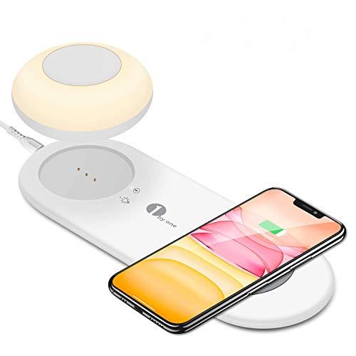 LED Nachttischlampe, Schreibtischlampe mit Fast Wireless Charger, Magnetische Tragbare Lampe, Dimmbar Licht, Smart Touch Tischlampe mit schnell kabellose Laden, für Samsung/i-Phone/HUAWEI (Warmweiß)