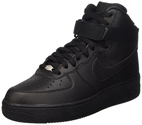 Nike Men's Air Force 1 High '07 Basketball Sneakers, Black/Black/Black (US 8.5)