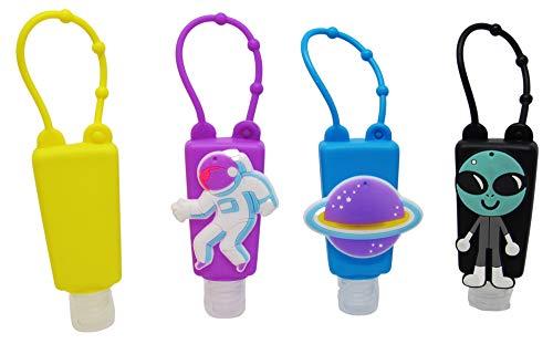 Set Bottiglie Ricaricabili per Bambini, in plastica, con custodia in silicone, 30 ml (Space man)