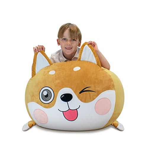 Shiba Inu plush Puppy Dog Stuffed Animal Storage Kids Bean Bag Chair Cover, COVER ONLY, 24x24x20 Inches Velvet Bag Toy Storage Zipper Organizer guarantee soft comfy for kid bedroom decor and chair
