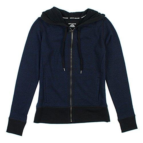 DKNY Jeans Womens Zip Up Hoodie M Black & Navy