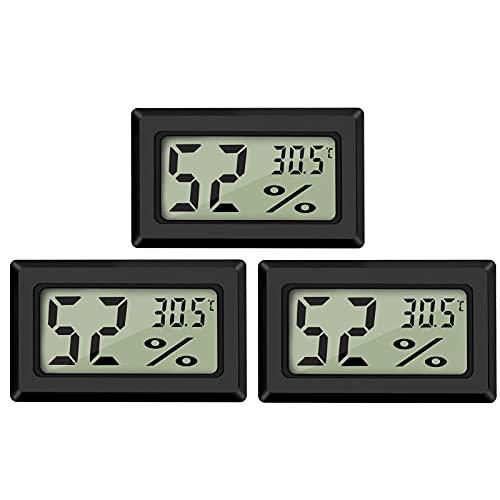 Thlevel 3X Mini LCD Digital Thermometer Temperatur Luftfeuchtigkeit Tester Hygrometer für Kühlschrank Aquarium -50°C~+70°C (3 PCS A)