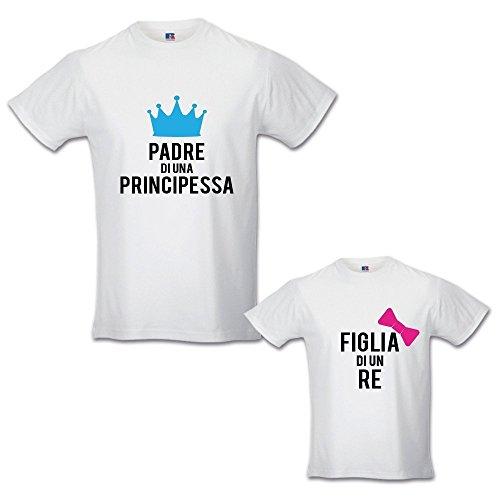 Babloo - Par de camisetas para papá e hija - Idea regalo para el día del padre de un príncipe - Princesa Bianche Femminuccia XX-Large