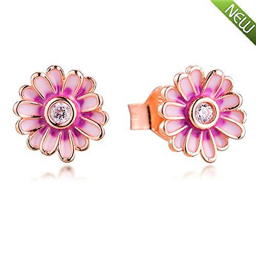 PANDOCCI 2020 Frühling Rosa Gänseblümchen Blume Ohrstecker für Frauen 925 Silber DIY Passend für Original Pandora Armbänder Charme Modeschmuck
