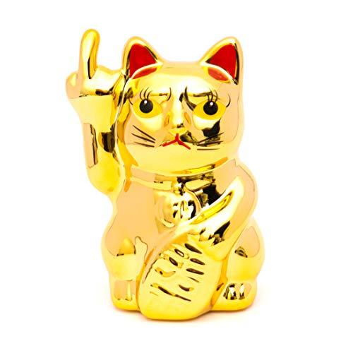 Fluffy Dreams – aus Winkekatze Wird Stinkekatze Wird Angry Cat | Dekorationsartikel aus Keramik für Büro, Wohnzimmer, Schlafzimmer | für Winkekatzen-Liebhaber | Farbe: Gold, Größe ca. 16 cm