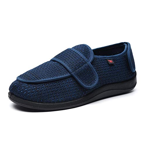 SZFGYJ Zapatillas Diabéticas Para Mujer, Zapatos Para Caminar Hinchados Unisex Transpirables Sin Deslizamiento Edema Ajustable Zapatos Anchopedic Sandalias De Ancianos,Negro,48