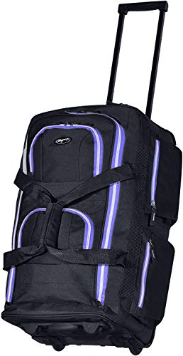 Olympia 8 Pocket Rolling Duffel Bag, Black/Purple, 22 inch