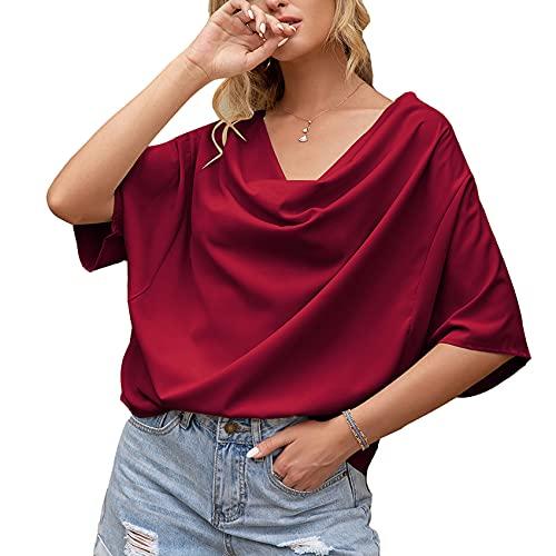Jersey Informal De Primavera Y Verano para Mujer, con Cuello En V, Pliegues De Color SóLido, Drapeado, Camiseta Suelta De Manga Corta, Camiseta para Mujer