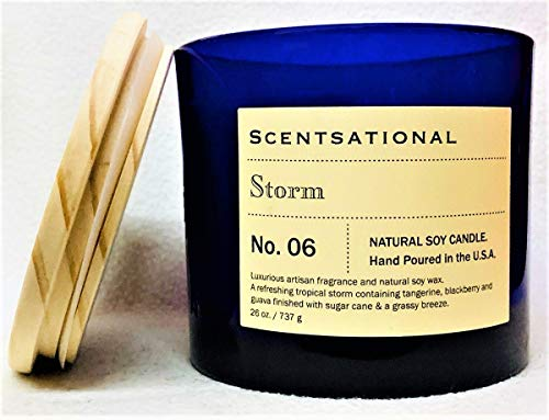 Natural Soy Based Scented Candle Storm XL Cobalt Blue Jar with Wooden Lid, 26 Oz.