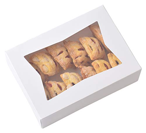 20 Pack - 8 Inch x 5 3/4 Inch x 2.5 Inch High Small, Auto pop-up, White Bakery Box with Window
