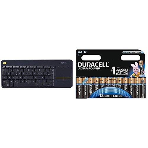 Logitech K400 Plus - Teclado inalámbrico para televisores conectados a PC, Qwerty español, color negro con Duracell Ultra Power - Pack DE 12 Pilas alcalinas AA