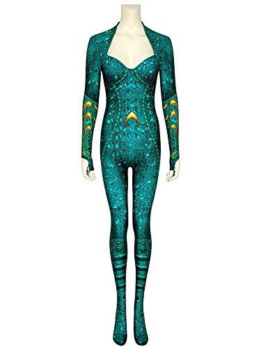 SJJYP Mujer desempeño Apretado Jumpsuit Onesies, DC Justice League Aquaman Esposa Mela Leotardo Traje Cuerpo Adulto Disfraces de Disfraces de Lujo Accesorios,Green-XXL 185~190cm