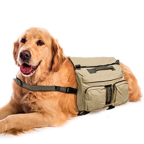 MDSTOP - Alforja para perro al aire libre, mochila para perro, bolsa de silla de montar para perros medianos y grandes para caminar senderismo entrenamiento (Khaki)