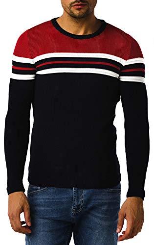Leif Nelson Pull en tricot pour homme avec col rond - Pull en tricot fin pour l'hiver - Col rond - Slim fit - Manches longues - Col rond - LN1985 - Bleu - Medium