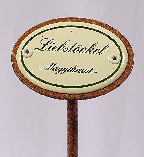 linoows Kräuterschild Kräuterstecker Emaille, Liebstöckel, Erdspieß 25 cm