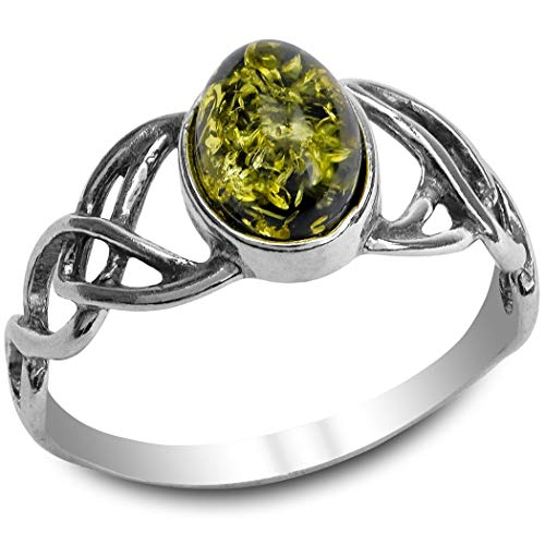 Green Amber Ring Sterling Silver Celtic Oval