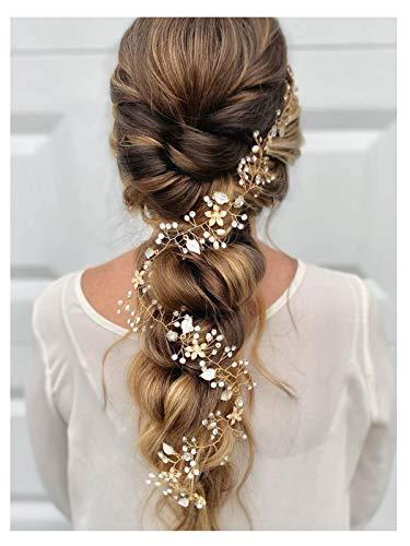 SWEETV Gold Haarreife- Geflochtene Hochzeit Haarbänder Bohemian Bridal Haarschmuck - Kristall Hair Vine für Bräute Brautjungfern Extended length 28 1/2 inch