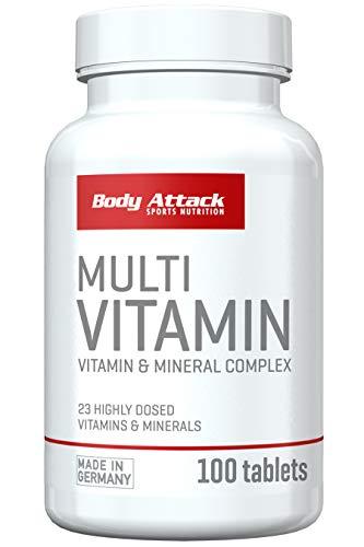 Body Attack Multi Vitamin Kapseln, hochdosiert, Vitamine & Mineralien (100 Tabletten)