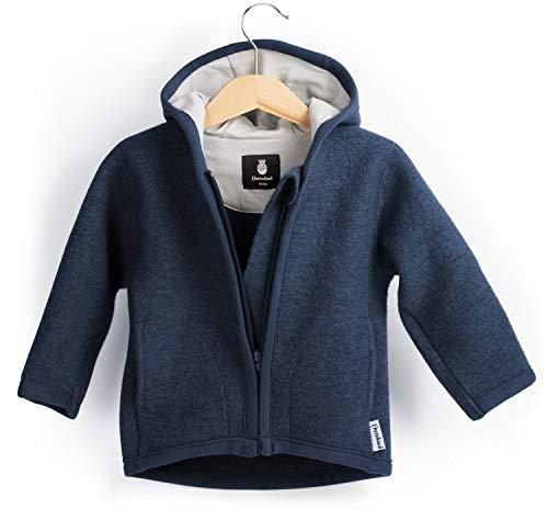 Ehrenkind® Walkjacke | Jacke für Kind aus Natur Schurwolle mit Reißverschluss | Walk Jacke für Baby | Blau Gr. 74/80