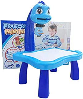Kids Drawing Board Projector Painting Set Children's Table Top Projector Drawing Set with 3 Different Picture Disks 12 Col...