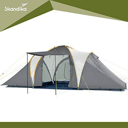 Skandika Daytona XXL 6 Person/Man Dome Family Camping Tent with 3 Sleeping Cabins, 3000 mm Water Column, 195 cm Peak Height & Sun Canopy (Grey)