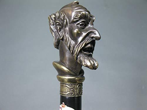 Houten wandelstok met bronzen handvat wandelstok 96 cm wandelstok Walking Stick Don Quixote