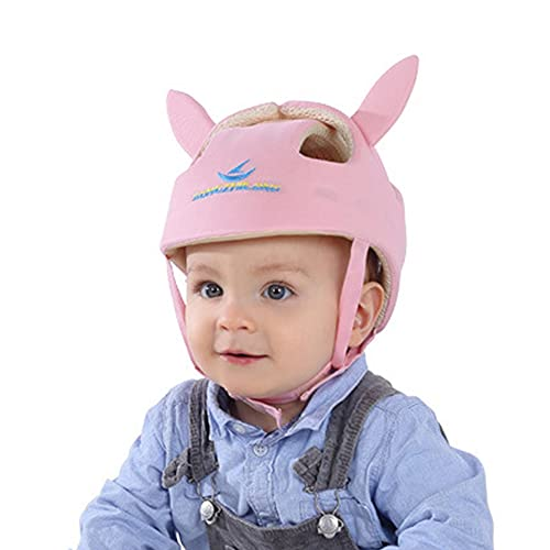 AIKSSOO 赤ちゃんヘルメット ベビーヘッドガード 耳付き 幼児 用 ヘルメット 頭を守る 転倒防止 あたま ガード 超軽量 通気性 衝撃吸収 頭 守る ごっつん防止 サイズ調整可能 室内用 綿 洗える 出産祝い プレゼント ピンク