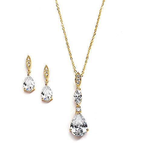 Mariell 14K Gold Plated Pear-Shaped CZ Bridal, Bridesmaids or Prom Necklace and Earring Set