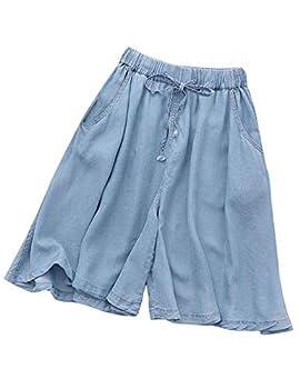 Flygo Women s Casual Elastic Waist Knee-Length Wide-Leg Pleated Capris Denim Culottes Shorts with Drawstring  X-Small Light Blue