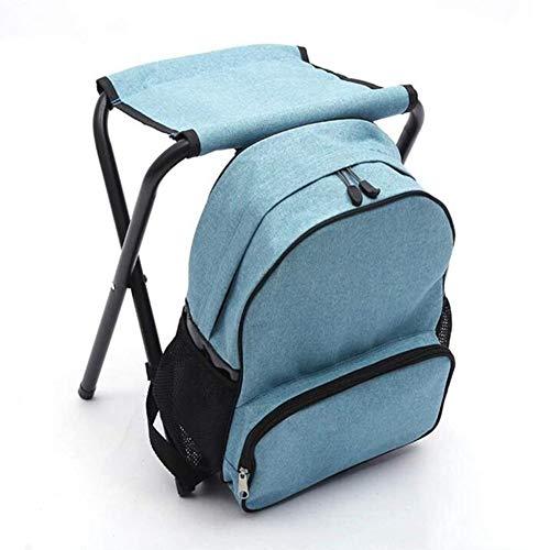 Outdoor leisure opvouwbare camping stoel, lichtgewicht outdoor sporten draagbare rugzak klapstoel, berg camping benodigdheden, schets viskrukje,(light blue)