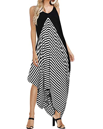 Style Dome Sommerkleid Damen Ärmellos Träger Asymmetrisch Strandkleid Sexy V-Ausschnitt Gestreift Schwarz-998448 M