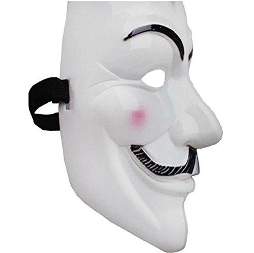 Deled V-Form Guy Fawkes Maske Vendetta Mask Cosplay Halloween Kostüme Zubehör (Weiß)