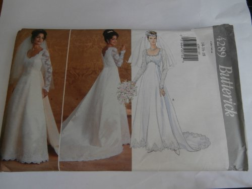 Butterick 4289 Size 14-16-18, Wedding Gown with Detachable Train and Neckline Variations Sewing Pattern