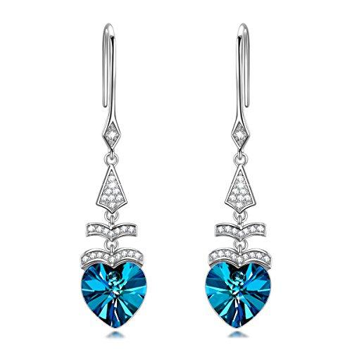 Alex Perry Regalo 25 Plata Pendientes Mujeres Corazón Azul Árbol Cristales Austria Joyería para Elle Su Madre Amante Cumpleaños Aniversario