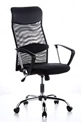 hjh OFFICE 621100 Office Chair ARIA HIGH Fishnet / Synthetic Leather Black Swivel chair, PC chair, high backrest