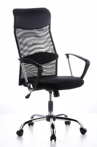 hjh OFFICE 621100 Bürostuhl ARIA HIGH Netzstoff/Kunstleder Schwarz Drehstuhl, PC Stuhl, hohe Rückenlehne