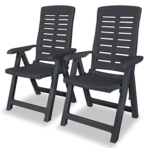 SKM Reclining Garden Chairs 2 pcs Plastic Anthracite - 3897