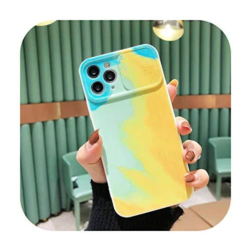 Cámara protección acuarela pintura teléfono caso para iPhone 11 12Pro Max 12 Mini XS Max X XR 7 8 Plus suave arco iris silicio coque-b-para iPhone XS Max
