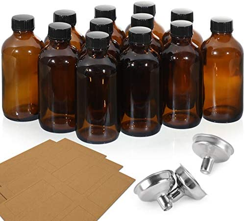 12 Pack 4 OZ Glass Amber Bottles with Black Poly Cone Cap 3 Stainless Steel Funnels 12 Labels product image
