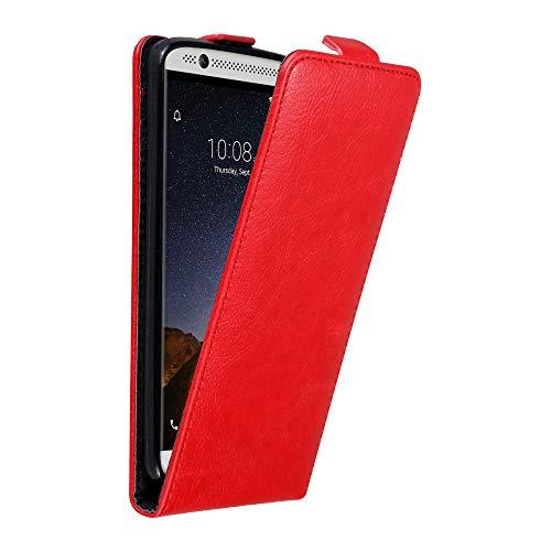 Cadorabo Hülle für ZTE Axon 7 in Apfel ROT - Handyhülle im Flip Design mit unsichtbarem Magnetverschluss - Hülle Cover Schutzhülle Etui Tasche Book Klapp Style