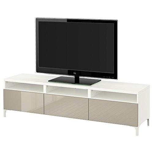 IKEA BESTA - TV-Bank mit Schubladen Weiß/selsviken hochglänzend/beige