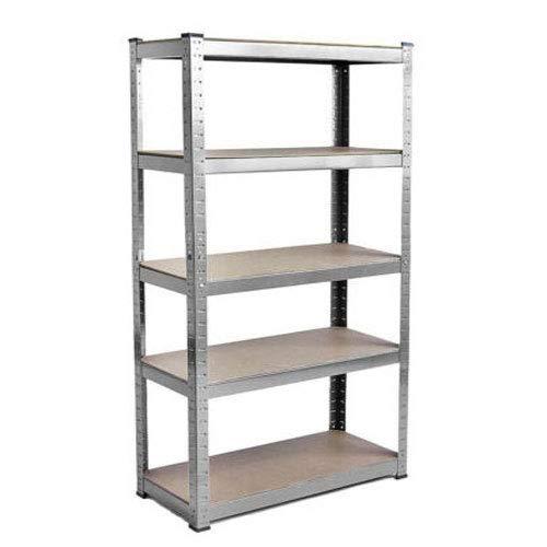 Estantería de 150 x 70 x 30 cm de metal galvanizado para garaje de 5 niveles sin tornillos, capacidad de 875 kg (175 kg por estante)