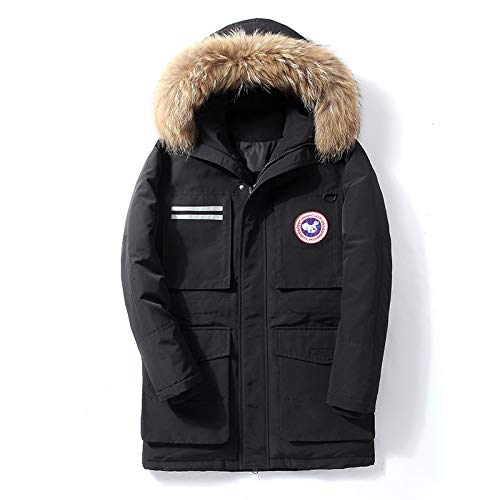 GYXYYF Medium and Long Canadian down Jacket Male Goose Tide Handsome Military uniform Coat Thick Coat XL Black