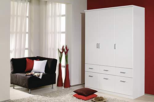 Rauch Möbel Bremen Schrank Drehtürenschrank Kleiderschrank in Weiß mit 6 Schubladen 3-türig, inklusive Zubehörpaket Basic 2 Kleiderstangen, 2 Einlegeböden BxHxT 136x199x58 cm