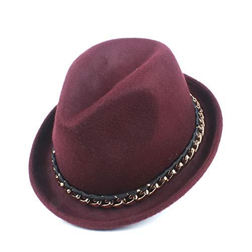 Accesorios sombrero de ala ancha diario Sólido de lana color del sombrero de fieltro de lana unisex estrecho del invierno del cuello del sombrero de la decoración del metal de las mujeres sombrero de