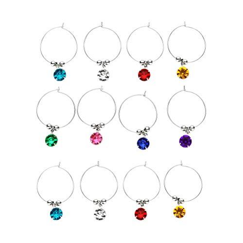 UPKOCH 16 Stück Weinglas Bezaubert Bunte Diamanten Glasmarkierungen Trinkbecher Kennung für Geburtstag Hochzeit Bar Party (Gemischte Farbe)