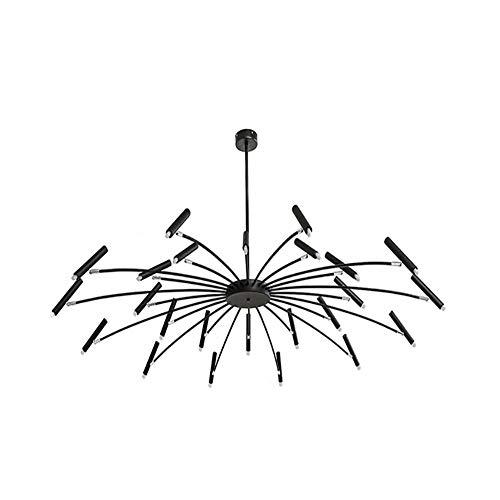 H.JPT Modern Chandelier Pendant Light Ceiling Lamp Living Room Lamp Wrought Iron Adjustable Restaurant Umbrella Led Decorative Lighting,110-220v,Black,12+12head