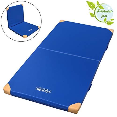 ALPIDEX Klappbare Matte Turnmatte Sportmatte Gymnastikmatte 200 x 100 x 8 cm mit Anti-Rutschboden, Lederecken und Tragegriffen RG 80