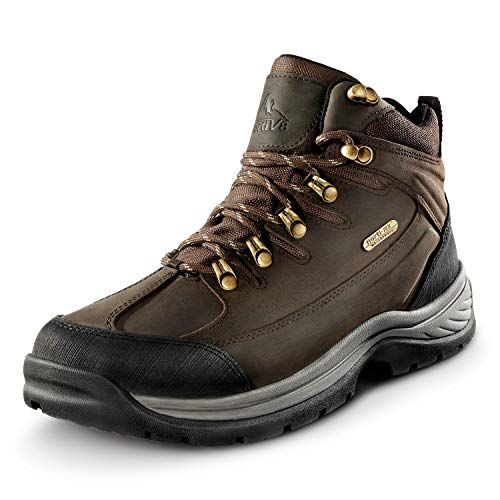 NORTIV 8 Men's Leather Waterproof Hiking Boots Mid Ankle Trekking Mountaineering Outdoor Boots Brown Size 10 M US Hiker