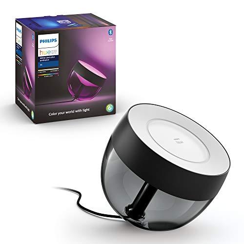 Philips Hue Iris Lámpara de Mesa Inteligente negra LED, con Bluetooth, Luz Blanca y Color, Compatible con Alexa y Google...